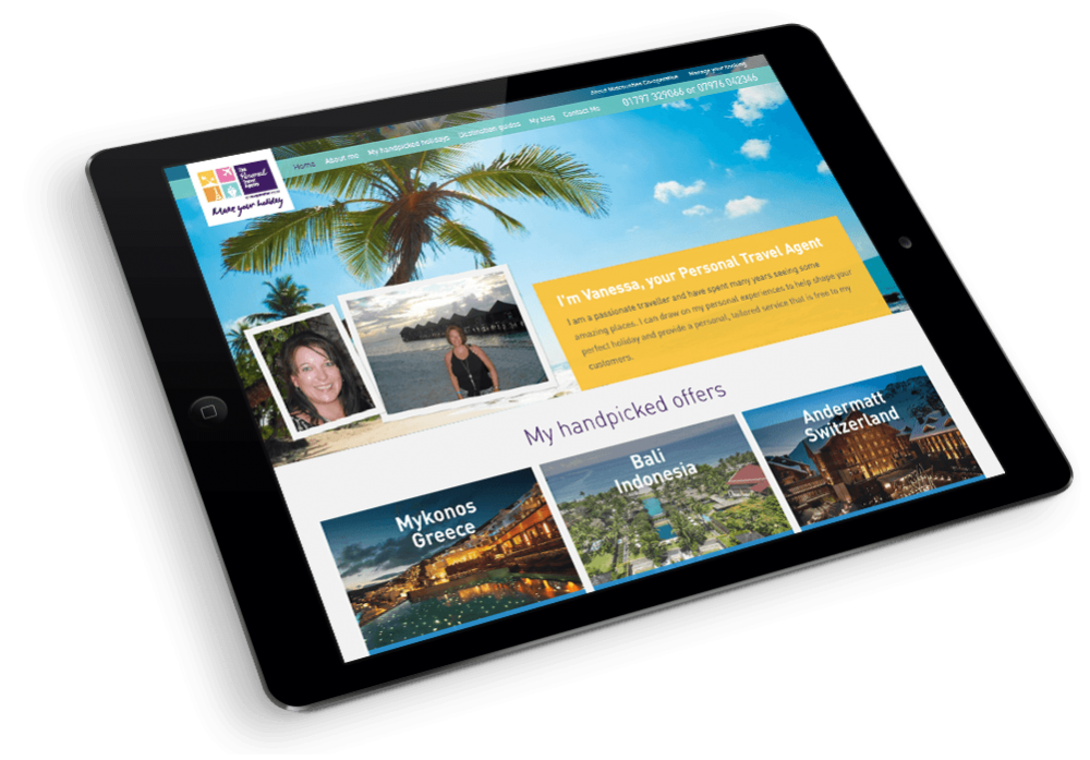 Midcounties Co-operative Personal Travel Agents website on iPad